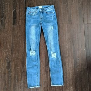 Hudson girl's size 12 distressed raw hem jeans